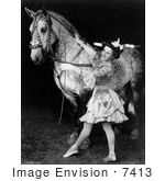 #7413 Stock Photo of a Female Bareback Horse Rider Next to a Horse in Black and White, 1908 by JVPD