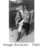 #7423 Stock Image of a Woman Hiding a Flask in Her Boot During Prohibition by JVPD