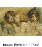 #7460 Stock Picture Of Three Children One Kissing Another