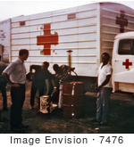 #7476 Picture Of A Red Cross Truck Fueling Up Before Distributing Food To The Refugee Relief Camps During The Nigerian-Biafran War