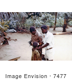 #7477 Picture of an African Child Being Vaccinated for Measles and Smallpox in a Relief Camp Outside of a War Zone in Nigeria by KAPD