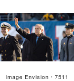 #7511 George W Bush Waving At 105th Army Vs Navy Game