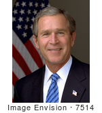 #7514 Stock Photo Of A Portrait Of The 43rd American President George W Bush Smiling And Posed In Front Of An American Flag