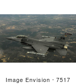 #7517 Stock Picture Of An F-16cj Fighting Falcon In Flight Military Aircraft