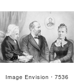 #7536 Picture Of President Garfield With His Mother And Wife