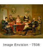 #7538 Picture Of President James A Garfield And Family At A Table