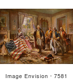#7581 Picture of The Birth of Old Glory, Betsy Ross Flag by JVPD