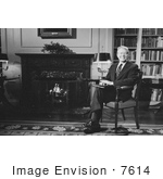 #7614 Picture Of Jimmy Carter Sitting By A Fireplace