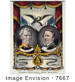#7667 Picture Of Millard Fillmore On A Whig Party Banner