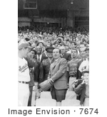#7674 Picture Of President Nixon Tossing A Baseball