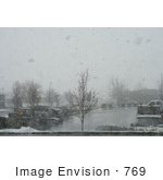 #769 Photograph Of Snow Falling Over A Parking Lot