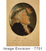 #7701 Picture Of Thomas Jefferson Wearing A Laurel Wreath
