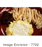 #7722 Photo Of Turkey Mashed Potatoes And Cranberry Sauce