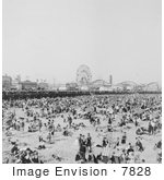#7828 Photo Of Crowded Coney Island Beach
