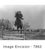 #7863 Picture Of Roosevelt On Horse Jumping Over Fence