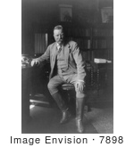 #7898 Picture Of President Roosevelt In His Library
