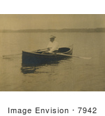 #7942 Picture Of Theodore Roosevelt Rowing A Boat