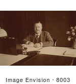 #8003 Picture Of Theodore Roosevelt Sitting At Desk