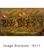 #8111 Picture Of Grant And Generals On Horses