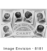 #8181 Picture of a Hair Cutting Chart by JVPD