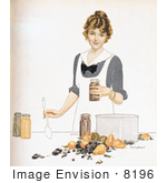 #8196 Picture Of A Woman Canning Fruit