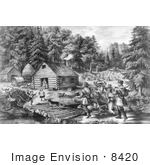 #8420 Picture of a Pioneer Log Cabin by JVPD
