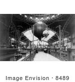 #8489 Picture Of The Paris Exposition Building Interior With Balloons