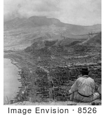 #8526 Picture of the Eruption of Mont Pelee, Martinique in Ruins by JVPD
