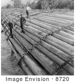 #8720 Picture Of A Log Raft On Columbia River