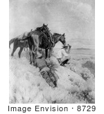 #8729 Historic Stock Photography Of Two Cowboys And Horses