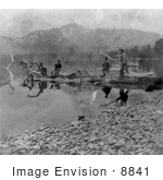 #8841 Picture Of Men On A Log At Fallen Leaf Lake