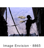 #8865 Picture Of An Airdrop From A C-130 Hercules