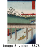 #8878 Photo Of A Boat Carrying Cargo Passing Under A Conduit On The Tea-Water Canal Near Mt Fuji Tokyo Japan