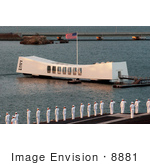 #8881 Picture Of Sailors Passing The Uss Arizona Memorial