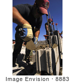 #8883 Picture Of Soldiers Constructing Cinder Block Walls