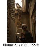 #8891 Picture Of Army Soldiers Inspecting A Rooftop