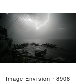 #8908 Picture Of Lightning Near An Aircraft Carrier