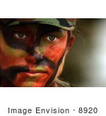 #8920 Picture Of A Female Soldier With Face Paint
