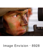 #8928 Picture Of A Soldier With Machine Gun