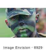 #8929 Picture Of A Soldier With Face Paint