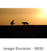 #8930 Picture of a Man and Dog at Sunset by JVPD