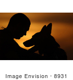 #8931 Picture of a Man and Dog Watching Sunset by JVPD