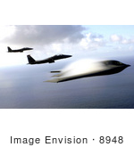 #8948 Picture Of F-15e Strike Eagles And B-2 Bomber