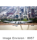 #8957 Picture Of A B-2 Bomber Over St Louis