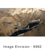 #8982 Picture Of Five Fighter Jets Over Sawtooth Mountains
