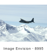 #8995 Picture Of A C-130 Hercules Over Alaska Range