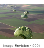 #9001 Picture Of Parachutes Of An Airborne Jump Exercise
