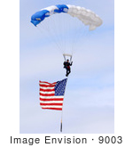#9003 Picture Of Parachuting With An American Flag