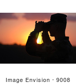 #9008 Picture Of A Soldier At Sunset