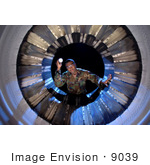 #9039 Picture Of Inspecting Fan Blades Of An F-16